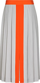 Jones Pleated Contrast Panel Skirt - length: below the knee; pattern: plain; fit: body skimming; style: pleated; waist: high rise; secondary colour: bright orange; predominant colour: light grey; occasions: casual, occasion; fibres: polyester/polyamide - 100%; hip detail: structured pleats at hip; pattern type: fabric; texture group: other - light to midweight