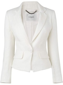 Roxana Linen Jacket White - pattern: plain; style: single breasted tuxedo; collar: standard lapel/rever collar; predominant colour: white; occasions: work; length: standard; fit: tailored/fitted; fibres: linen - 100%; sleeve length: long sleeve; sleeve style: standard; texture group: linen; collar break: medium; pattern type: fabric