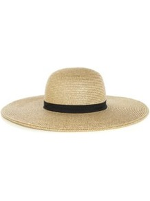 Lurex Floppy Hat - predominant colour: camel; occasions: casual, holiday; type of pattern: standard; style: wide brimmed; size: large; material: macrame/raffia/straw; embellishment: ribbon; pattern: plain