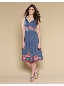 Bella Embellished Sundress - length: below the knee; neckline: low v-neck; sleeve style: sleeveless; waist detail: embellishment at waist/feature waistband; secondary colour: pink; predominant colour: indigo; occasions: casual, evening, holiday; fit: fitted at waist & bust; style: fit & flare; fibres: cotton - 100%; hip detail: soft pleats at hip/draping at hip/flared at hip; shoulder detail: flat/draping pleats/ruching/gathering at shoulder; sleeve length: sleeveless; texture group: cotton feel fabrics; pattern type: fabric; pattern size: small & light; pattern: florals; embellishment: embroidered