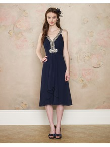 Harriet Dress - length: below the knee; neckline: low v-neck; pattern: plain; sleeve style: sleeveless; bust detail: added detail/embellishment at bust; waist detail: twist front waist detail/nipped in at waist on one side/soft pleats/draping/ruching/gathering waist detail; predominant colour: navy; occasions: evening, occasion; fit: fitted at waist &amp; bust; style: fit &amp; flare; fibres: polyester/polyamide - 100%; hip detail: soft pleats at hip/draping at hip/flared at hip; back detail: keyhole/peephole detail at back; sleeve length: sleeveless; texture group: sheer fabrics/chiffon/organza etc.; pattern type: fabric; embellishment: beading