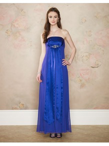 Diana Maxi - style: ballgown; neckline: strapless (straight/sweetheart); fit: empire; pattern: plain; sleeve style: strapless; length: ankle length; bust detail: added detail/embellishment at bust; predominant colour: royal blue; occasions: evening, occasion; fibres: silk - 100%; hip detail: structured pleats at hip; sleeve length: sleeveless; texture group: sheer fabrics/chiffon/organza etc.; pattern type: fabric; embellishment: crystals