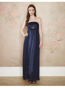 Diana Maxi - neckline: strapless (straight/sweetheart); fit: empire; pattern: plain; style: maxi dress; sleeve style: strapless; bust detail: ruching/gathering/draping/layers/pintuck pleats at bust; predominant colour: navy; occasions: evening, occasion; length: floor length; fibres: silk - 100%; hip detail: soft pleats at hip/draping at hip/flared at hip; sleeve length: sleeveless; texture group: sheer fabrics/chiffon/organza etc.; pattern type: fabric; embellishment: crystals