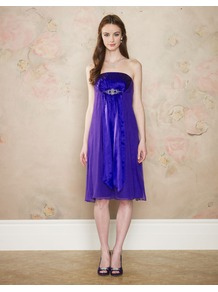 Diana Dress - style: empire line; neckline: strapless (straight/sweetheart); fit: empire; pattern: plain; sleeve style: strapless; waist detail: twist front waist detail/nipped in at waist on one side/soft pleats/draping/ruching/gathering waist detail; bust detail: ruching/gathering/draping/layers/pintuck pleats at bust; predominant colour: royal blue; occasions: evening, occasion; length: on the knee; fibres: silk - 100%; hip detail: soft pleats at hip/draping at hip/flared at hip; sleeve length: sleeveless; texture group: sheer fabrics/chiffon/organza etc.; pattern type: fabric; embellishment: applique