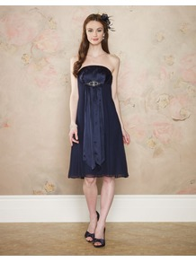 Diana Dress - style: empire line; neckline: strapless (straight/sweetheart); fit: empire; pattern: plain; sleeve style: strapless; waist detail: twist front waist detail/nipped in at waist on one side/soft pleats/draping/ruching/gathering waist detail; bust detail: ruching/gathering/draping/layers/pintuck pleats at bust; predominant colour: navy; occasions: evening, occasion; length: on the knee; fibres: silk - 100%; sleeve length: sleeveless; texture group: sheer fabrics/chiffon/organza etc.; pattern type: fabric; embellishment: jewels