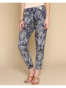 Savannah Snake Print Trouser - style: harem/slouch; waist detail: elasticated waist; waist: mid/regular rise; secondary colour: ivory; predominant colour: navy; occasions: casual, evening, holiday; length: ankle length; fibres: viscose/rayon - 100%; trends: statement prints; fit: tapered; pattern type: fabric; pattern size: standard; pattern: animal print; texture group: other - light to midweight
