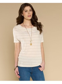 Sophie Stripe Top - neckline: round neck; pattern: horizontal stripes; style: t-shirt; predominant colour: ivory; occasions: casual, holiday; length: standard; fit: body skimming; sleeve length: short sleeve; sleeve style: standard; pattern type: knitted - fine stitch; pattern size: standard; texture group: jersey - stretchy/drapey; fibres: viscose/rayon - mix
