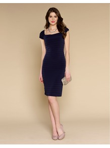 Teresa Dress - style: shift; sleeve style: capped; pattern: plain; predominant colour: black; occasions: evening, occasion; length: just above the knee; fit: body skimming; fibres: polyester/polyamide - stretch; sleeve length: short sleeve; neckline: low square neck; pattern type: fabric; texture group: suede