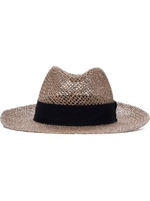 Open Weave Trilby - predominant colour: stone; secondary colour: black; type of pattern: small; style: trilby; size: standard; material: macrame/raffia/straw; embellishment: ribbon; pattern: plain; occasions: holiday