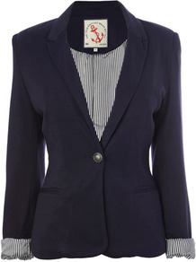 Navy Jersey Blazer - pattern: plain; style: single breasted blazer; collar: standard lapel/rever collar; predominant colour: navy; occasions: casual, evening, work; length: standard; fit: tailored/fitted; fibres: viscose/rayon - stretch; sleeve length: long sleeve; sleeve style: standard; collar break: medium; pattern type: fabric; texture group: other - light to midweight