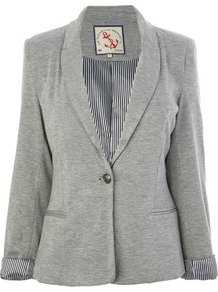 Grey Marl Jersey Blazer - pattern: plain; style: single breasted blazer; collar: standard lapel/rever collar; predominant colour: mid grey; occasions: casual, evening, work; length: standard; fit: tailored/fitted; fibres: viscose/rayon - stretch; sleeve length: long sleeve; sleeve style: standard; collar break: medium; pattern type: fabric; texture group: other - light to midweight