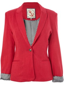 Raspberry Jersey Blazer - pattern: plain; style: single breasted blazer; collar: standard lapel/rever collar; predominant colour: true red; occasions: casual; length: standard; fit: tailored/fitted; fibres: viscose/rayon - stretch; sleeve length: 3/4 length; sleeve style: standard; collar break: medium; pattern type: fabric; texture group: other - light to midweight