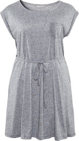 + Dress - style: t-shirt; neckline: round neck; fit: loose; pattern: plain; waist detail: belted waist/tie at waist/drawstring; predominant colour: mid grey; occasions: casual; length: just above the knee; fibres: cotton - 100%; sleeve length: short sleeve; sleeve style: standard; pattern type: fabric; texture group: jersey - stretchy/drapey