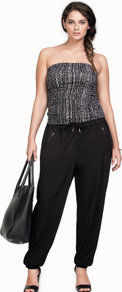 + Trousers - length: standard; pattern: plain; style: tracksuit pants; waist detail: belted waist/tie at waist/drawstring; waist: mid/regular rise; predominant colour: black; occasions: casual; fibres: polyester/polyamide - stretch; texture group: crepes; fit: baggy; pattern type: fabric