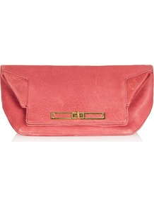 Fold Top Clutch - predominant colour: pink; occasions: evening; style: clutch; length: hand carry; size: small; material: leather; pattern: plain; finish: plain