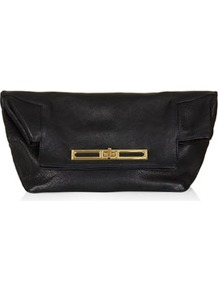 Fold Top Clutch - predominant colour: black; occasions: evening; style: clutch; length: handle; size: small; material: leather; pattern: plain; finish: plain