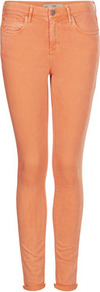 Moto Orange Leigh Jeans - style: skinny leg; length: standard; pattern: plain; pocket detail: traditional 5 pocket; waist: mid/regular rise; predominant colour: bright orange; occasions: casual, evening, holiday; fibres: cotton - stretch; jeans detail: washed/faded; texture group: denim; pattern type: fabric