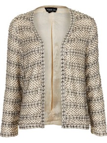 Tall Pearl Embellished Jacket - bust detail: added detail/embellishment at bust; collar: shawl/waterfall; style: boxy; predominant colour: nude; secondary colour: gold; occasions: evening, occasion; length: standard; fit: straight cut (boxy); fibres: viscose/rayon - 100%; sleeve length: long sleeve; sleeve style: standard; trends: metallics; collar break: low/open; pattern type: fabric; pattern size: small & busy; pattern: patterned/print; texture group: other - light to midweight; embellishment: pearls