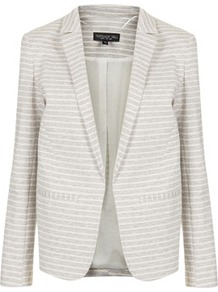 Tall Stripe Ponte Blazer - pattern: horizontal stripes; style: single breasted blazer; shoulder detail: shoulder pads; collar: standard lapel/rever collar; secondary colour: ivory; predominant colour: light grey; occasions: casual, evening, work, occasion, holiday; length: standard; fit: tailored/fitted; fibres: cotton - mix; waist detail: fitted waist; sleeve length: long sleeve; sleeve style: standard; trends: striking stripes; collar break: low/open; pattern type: fabric; pattern size: small & busy; texture group: jersey - stretchy/drapey