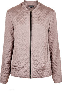 Tall Quilted Bomber Jacket - pattern: plain; bust detail: added detail/embellishment at bust; collar: round collar/collarless; fit: slim fit; style: bomber; predominant colour: taupe; occasions: casual, work, holiday; length: standard; fibres: polyester/polyamide - mix; sleeve length: long sleeve; sleeve style: standard; texture group: structured shiny - satin/tafetta/silk etc.; waist detail: drop waist; collar break: high; pattern type: fabric; embellishment: quilted