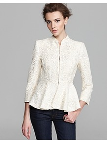 Jacket Polly Peplum Lace - pattern: plain; style: single breasted blazer; collar: round collar/collarless; predominant colour: ivory; occasions: evening, work, occasion; length: standard; fit: tailored/fitted; fibres: cotton - mix; waist detail: peplum detail at waist; sleeve length: long sleeve; sleeve style: standard; texture group: lace; collar break: high; pattern type: fabric