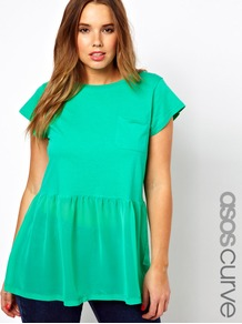 Curve Woven Hem Pocket T Shirt - pattern: plain; length: below the bottom; style: t-shirt; waist detail: peplum waist detail; predominant colour: mint green; occasions: casual, holiday; fibres: cotton - 100%; fit: loose; neckline: crew; hip detail: soft pleats at hip/draping at hip/flared at hip; bust detail: contrast pattern/fabric/detail at bust; sleeve length: short sleeve; sleeve style: standard; pattern type: fabric; texture group: jersey - stretchy/drapey