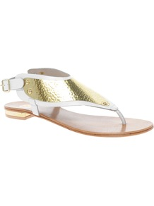 Metal Plate White Thong Sandals - predominant colour: white; secondary colour: gold; occasions: casual, evening, holiday; material: leather; heel height: flat; ankle detail: ankle strap; heel: standard; toe: toe thongs; style: flip flops / toe post; finish: metallic; pattern: colourblock; embellishment: chain/metal