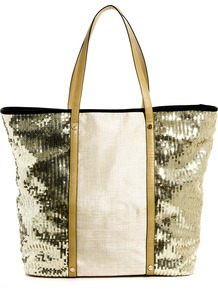 Sequin Panel Beach Tote - secondary colour: ivory; predominant colour: gold; occasions: casual, holiday; type of pattern: standard; style: tote; length: handle; size: oversized; material: fabric; embellishment: sequins; trends: metallics; finish: plain; pattern: colourblock