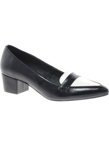 Social Pointed Heels - secondary colour: white; predominant colour: black; occasions: casual, evening, work; material: faux leather; heel height: mid; heel: block; toe: pointed toe; style: courts; finish: plain; pattern: colourblock