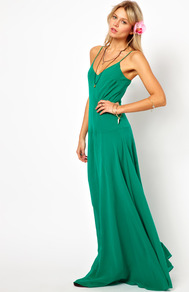 Maxi Dress With Seam Detail - neckline: plunge; sleeve style: spaghetti straps; pattern: plain; style: maxi dress; predominant colour: emerald green; occasions: casual, evening, occasion, holiday; length: floor length; fit: body skimming; fibres: polyester/polyamide - 100%; hip detail: soft pleats at hip/draping at hip/flared at hip; sleeve length: sleeveless; pattern type: fabric; texture group: jersey - stretchy/drapey