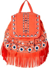 Fringe Detail Backpack - predominant colour: coral; occasions: casual, holiday; type of pattern: light; style: rucksack; length: rucksack; size: standard; material: fabric; embellishment: fringing; finish: plain; pattern: patterned/print