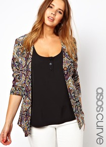 Curve Exclusive Blazer In Paisley Print - style: single breasted blazer; collar: round collar/collarless; length: below the bottom; pattern: paisley; occasions: casual, evening; fit: tailored/fitted; fibres: polyester/polyamide - 100%; predominant colour: multicoloured; sleeve length: long sleeve; sleeve style: standard; trends: statement prints; collar break: low/open; pattern type: fabric; pattern size: small &amp; busy; texture group: other - light to midweight
