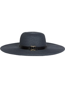 Kenway Wide Brim Hat - predominant colour: navy; occasions: casual, holiday; type of pattern: standard; style: wide brimmed; size: large; material: macrame/raffia/straw; pattern: plain