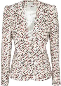 Lolli Print Vintage Print Jacket - style: single breasted blazer; collar: standard lapel/rever collar; predominant colour: ivory; occasions: casual, evening, work, occasion; length: standard; fit: tailored/fitted; fibres: polyester/polyamide - mix; waist detail: fitted waist; sleeve length: long sleeve; sleeve style: standard; collar break: medium; pattern type: fabric; pattern size: small &amp; busy; pattern: florals; texture group: other - light to midweight; secondary colour: dusky pink