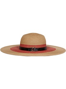 Kenway Wide Brim Hat - predominant colour: coral; secondary colour: camel; occasions: casual, holiday; type of pattern: standard; style: wide brimmed; size: large; material: macrame/raffia/straw; pattern: colourblock