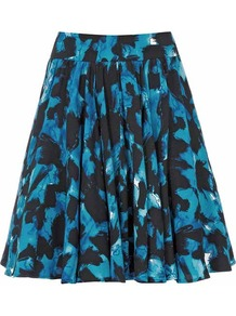 Alana Print Amanth Printed Skirt - length: mini; style: full/prom skirt; fit: loose/voluminous; waist: high rise; predominant colour: royal blue; secondary colour: black; occasions: evening, work, occasion, holiday; fibres: viscose/rayon - 100%; hip detail: soft pleats at hip/draping at hip/flared at hip; waist detail: narrow waistband; texture group: cotton feel fabrics; pattern type: fabric; pattern size: big & busy; pattern: patterned/print