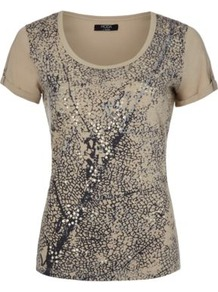 Moda Sequin T Shirt Multi - neckline: round neck; style: t-shirt; predominant colour: stone; secondary colour: black; occasions: casual; length: standard; fibres: cotton - 100%; fit: body skimming; bust detail: contrast pattern/fabric/detail at bust; sleeve length: short sleeve; sleeve style: standard; texture group: cotton feel fabrics; pattern type: fabric; pattern size: small &amp; busy; pattern: patterned/print; embellishment: sequins