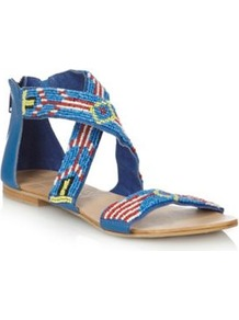 Designer Blue Beaded Strapped Flat Sandals - predominant colour: diva blue; secondary colour: yellow; occasions: casual, holiday; material: faux leather; heel height: flat; embellishment: beading; ankle detail: ankle strap; heel: standard; toe: open toe/peeptoe; style: strappy; finish: plain; pattern: patterned/print