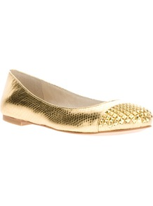 Studded Metallic Ballet Flat - predominant colour: gold; occasions: casual, evening, holiday; material: leather; heel height: flat; embellishment: studs; toe: round toe; style: ballerinas / pumps; trends: metallics; finish: metallic; pattern: plain