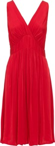 Emma Dress - style: shift; neckline: low v-neck; fit: empire; pattern: plain; sleeve style: sleeveless; waist detail: twist front waist detail/nipped in at waist on one side/soft pleats/draping/ruching/gathering waist detail; bust detail: ruching/gathering/draping/layers/pintuck pleats at bust; predominant colour: true red; occasions: evening, occasion; length: just above the knee; fibres: viscose/rayon - 100%; hip detail: soft pleats at hip/draping at hip/flared at hip; back detail: keyhole/peephole detail at back; sleeve length: sleeveless; pattern type: fabric; texture group: jersey - stretchy/drapey
