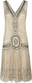 Sequin Flapper Dress, Oyster - style: shift; neckline: low v-neck; sleeve style: sleeveless; predominant colour: ivory; secondary colour: taupe; occasions: evening, occasion; length: just above the knee; fit: body skimming; fibres: nylon - 100%; shoulder detail: added shoulder detail; sleeve length: sleeveless; texture group: sheer fabrics/chiffon/organza etc.; pattern type: fabric; pattern size: standard; pattern: patterned/print; embellishment: sequins
