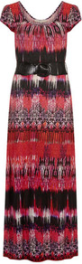 Billie &amp; Blossom Aztec Maxi Dress - sleeve style: capped; style: maxi dress; length: ankle length; waist detail: belted waist/tie at waist/drawstring; predominant colour: true red; secondary colour: black; occasions: casual, holiday; fit: soft a-line; neckline: scoop; fibres: viscose/rayon - 100%; sleeve length: short sleeve; pattern type: fabric; pattern size: big &amp; busy; pattern: patterned/print; texture group: jersey - stretchy/drapey