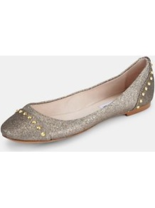Kstudd Studded Pumps Gold Glitter, Gold - predominant colour: silver; secondary colour: gold; occasions: casual, evening; material: fabric; heel height: flat; embellishment: glitter; toe: round toe; style: ballerinas / pumps; trends: metallics; finish: metallic; pattern: plain
