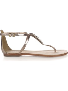 Lottie Sandal - predominant colour: gold; occasions: casual, evening, holiday; material: leather; heel height: flat; ankle detail: ankle strap; heel: standard; toe: toe thongs; style: flip flops / toe post; trends: metallics; finish: metallic; pattern: plain; embellishment: applique