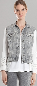 Jacket Vrac - pattern: plain; sleeve style: sleeveless; style: denim; secondary colour: white; predominant colour: mid grey; occasions: casual; length: standard; fit: straight cut (boxy); collar: shirt collar/peter pan/zip with opening; sleeve length: sleeveless; texture group: denim; collar break: high; pattern type: fabric; fibres: viscose/rayon - mix