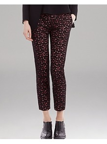 Pants Polie - pocket detail: pockets at the sides; waist: mid/regular rise; secondary colour: hot pink; predominant colour: black; occasions: casual, evening, work, occasion; length: ankle length; fibres: viscose/rayon - stretch; fit: slim leg; pattern type: fabric; pattern size: small & light; pattern: patterned/print; texture group: other - light to midweight; style: standard; embellishment: lace