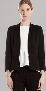Jacket Vicomtesse - pattern: plain; style: single breasted blazer; collar: standard lapel/rever collar; predominant colour: black; occasions: casual, evening, work; length: standard; fit: tailored/fitted; fibres: viscose/rayon - stretch; waist detail: fitted waist; sleeve length: long sleeve; sleeve style: standard; texture group: crepes; collar break: low/open; pattern type: fabric