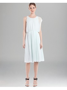 Dress Razzia Seafoam - length: below the knee; fit: fitted at waist; pattern: plain; sleeve style: sleeveless; style: blouson; waist detail: elasticated waist; neckline: asymmetric; predominant colour: white; fibres: polyester/polyamide - 100%; occasions: occasion; sleeve length: sleeveless; texture group: sheer fabrics/chiffon/organza etc.; pattern type: fabric
