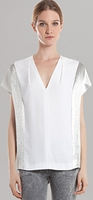 Top clair - neckline: v-neck; sleeve style: capped; pattern: plain; predominant colour: white; secondary colour: silver; occasions: casual, evening; length: standard; style: top; fibres: silk - 100%; fit: straight cut; sleeve length: short sleeve; trends: metallics; pattern type: fabric; texture group: other - light to midweight