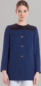 Jacket Mystere - pattern: plain; collar: round collar/collarless; length: below the bottom; style: boxy; predominant colour: navy; secondary colour: black; occasions: casual, evening, work; fit: straight cut (boxy); fibres: cotton - mix; sleeve length: long sleeve; sleeve style: standard; texture group: cotton feel fabrics; collar break: high; pattern type: fabric; pattern size: small & light